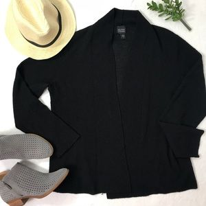 Eileen Fisher 100% Wool Open Front Cardigan Black